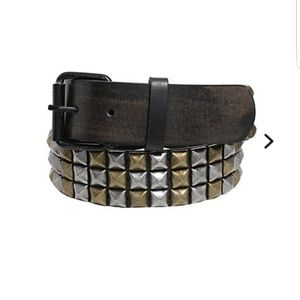 HOT TOPIC Distressed Gold & Silver Studded Belt